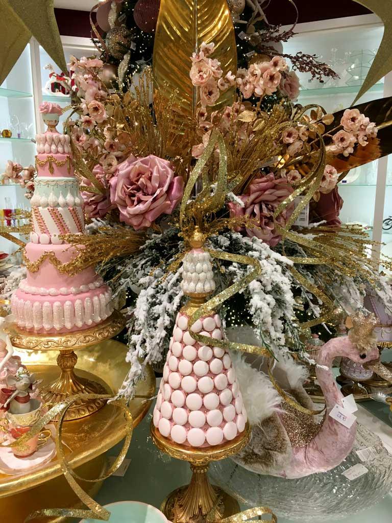 decorazioni Natalizie in rosa e oro